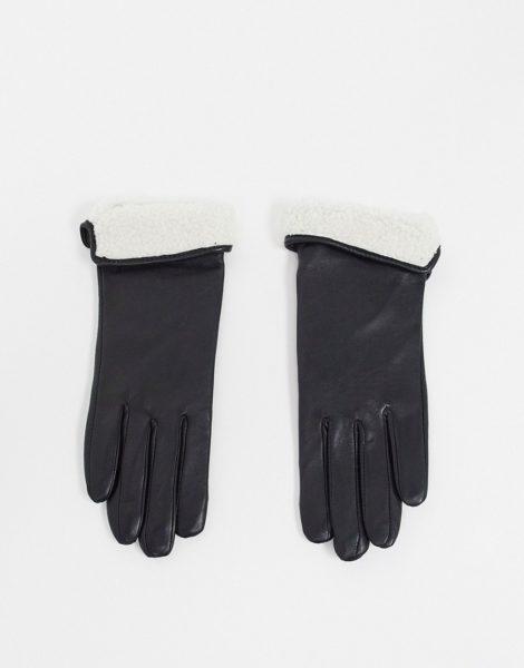 ASOS DESIGN - Lederhandschuhe mit Touchscreen-Fingerspitzen und Teddyfell-Umschlag-Schwarz
