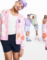 ASOS DESIGN - Oversize-Strickjacke aus Jersey mit vollflächigem Blumen- und Karomuster-Mehrfarbig