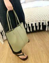 ASOS DESIGN - Schlichte Shopper-Tasche mit gerafften Trägern in Salbeigrün