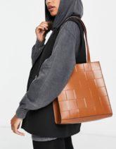 ASOS DESIGN - Shopper-Tasche in Hellbraun gewebt