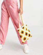ASOS DESIGN - Shopper-Tasche in gehäkeltem Sonnenblumendesign-Mehrfarbig