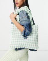 ASOS DESIGN - Shopper-Tasche mit gerafften Henkeln und grünem Vichy-Karo