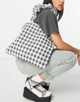 ASOS DESIGN - Shopper-Tasche mit gerafften Henkeln und schwarz-weißem Vichy-Karo