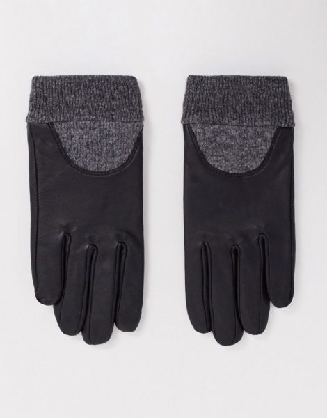 ASOS DESIGN - Touchscreen-Handschuhe aus Leder mit gerippten Bündchen-Schwarz