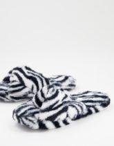 ASOS DESIGN - Zeve - Slider-Hausschuhe mit Zebramuster und gedrehtem Riemen-Mehrfarbig