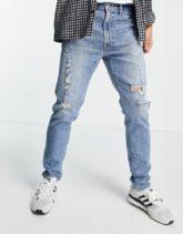 Abercrombie & Fitch - Schmal geschnittene, zerschlissene Jeans im Stil der 90er in heller Distressed-Optik-Blau