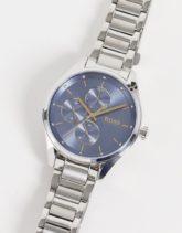 Boss - Silberfarbene Chronographen-Armbanduhr für Damen mit Ziffernblatt in Blau 1502604