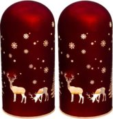 Creativ light LED Dekolicht, aus Glas mit Weihnachtsmotiv, 2er Set, mit 6h Timerfunktion