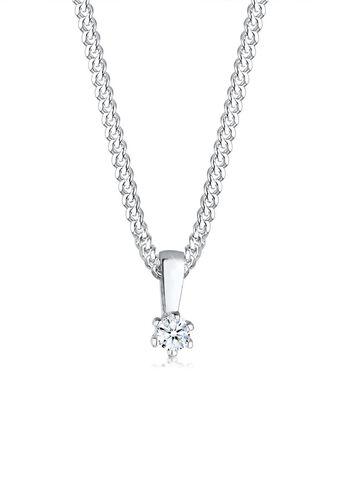 DIAMORE Halskette Kreis Diamant Geschenkidee 925 Sterling Silber, Weiß, 45 cm