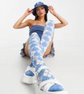 Daisy Street x Bratz - Overknee-Strümpfe mit Rautenmuster-Blau