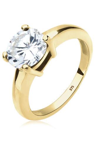 Elli PREMIUM Ring Solitärring Zirkonia 375 Gelbgold Geschenkidee, Weiß