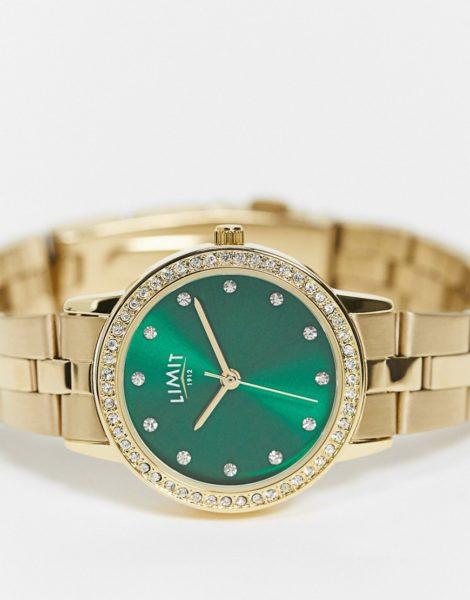 Limit - Goldfarbene Armbanduhr für Damen, mit grünem Zifferblatt