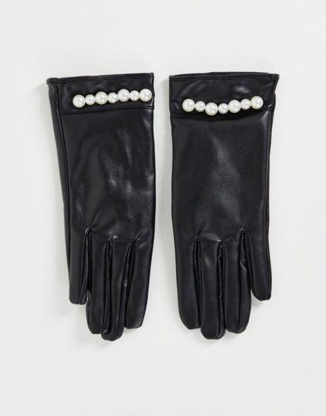 SVNX - Handschuhe aus Kunstleder in Schwarz mit Perlenbesatz