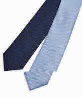 Topman - 2er-Pack Krawatten in Marineblau und Blau-Mehrfarbig