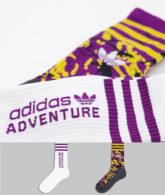 adidas Originals - Adventure - Crew-Socken in Lila und Weiß im 2er-Pack-Mehrfarbig