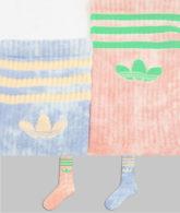 adidas Originals - Crew-Socken in Blau und Orange mit Batikmuster im 2er-Pack-Mehrfarbig
