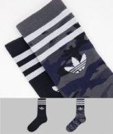 adidas Originals - Crew-Socken mit Military-Muster und in Schwarz im 2er-Pack-Mehrfarbig