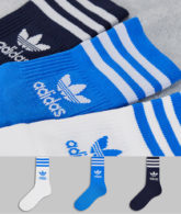 adidas Originals - adicolor - 3er-Pack mittelhohe Socken in Blau mit Dreiblattlogo