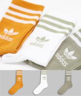adidas Originals - adicolor - Mittelhohe Crew-Socken in Khaki und Orange mit Dreiblatt-Logo im 3er-Pack-Mehrfarbig